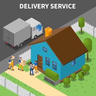 Servicio de entrega isométrica con grupo de mensajeros descargando compras a clientes a domicilio