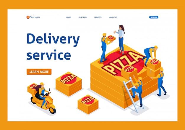 El servicio de entrega isométrica recoge el pedido, la niña en la bicicleta lleva una página de aterrizaje de pizza