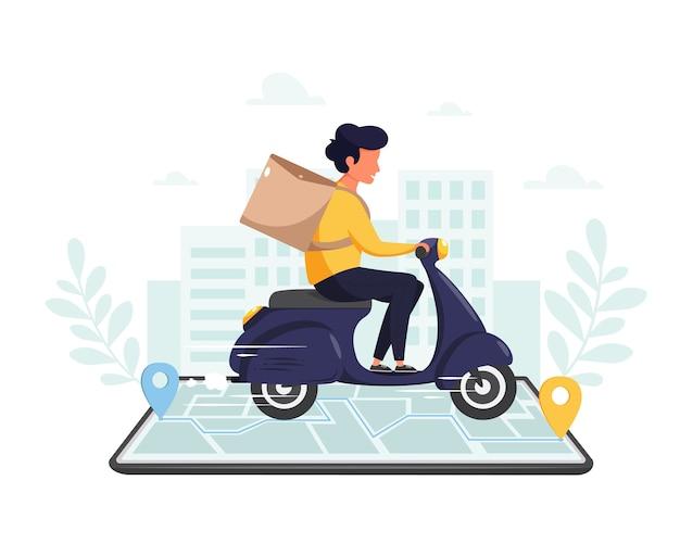 Servicio de entrega en línea, concepto de compra en línea. entrega rápida en scooter a través del teléfono móvil. en estilo plano.