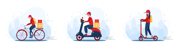 Servicio de entrega en línea concepto hogar y oficina. scooter con mensajería rápida. envío de comida de restaurante, correo y paquetes. ilustración moderna en estilo de dibujos animados.