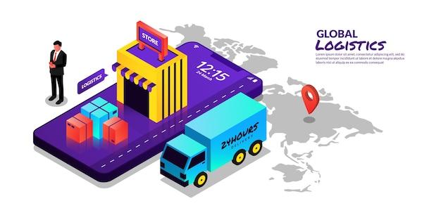 Servicio de entrega en línea de concepto logístico global en diseño isométrico