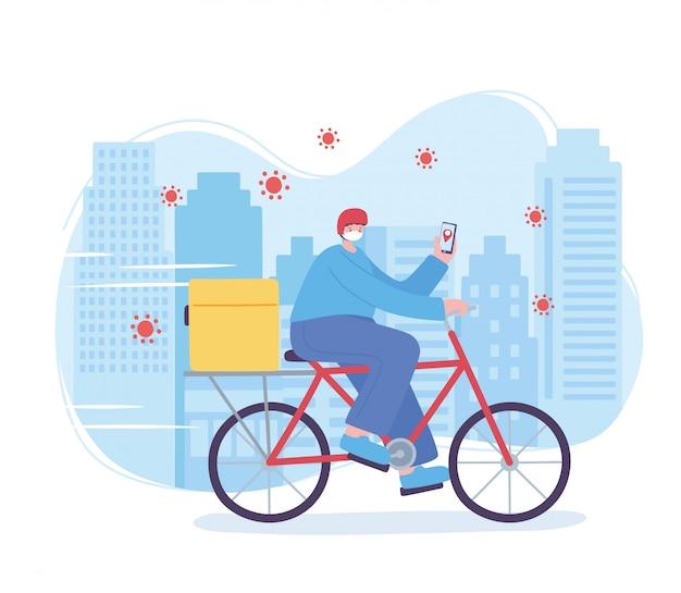 Servicio de entrega en línea, hombre en bicicleta con máscara y teléfono inteligente, coronavirus, ilustración de transporte rápido y gratuito