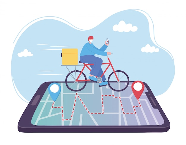 Servicio de entrega en línea, hombre montando bicicleta en el rastreo de teléfonos inteligentes, transporte rápido y gratuito, envío de pedidos, ilustración del sitio web de la aplicación