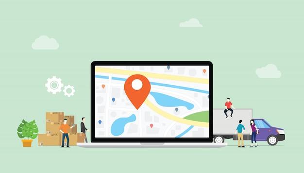 Servicio de entrega en línea con laptop y ubicación de pin gps.