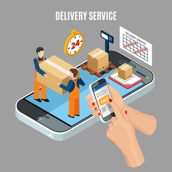 Servicio de entrega en línea de logística con trabajadores cargando cajas ilustración isométrica 3d