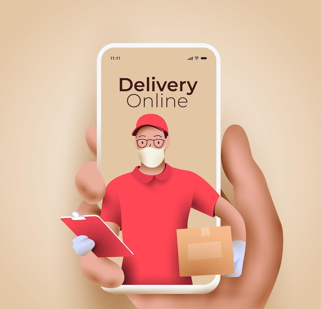 Servicio de entrega en línea o concepto de aplicación móvil de seguimiento de entrega