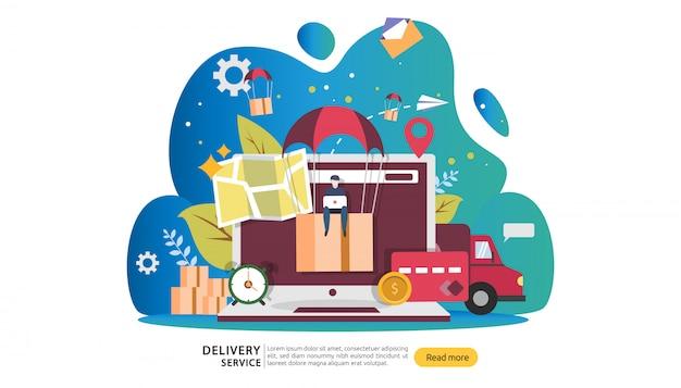 Servicio de entrega en línea. ordene el concepto de seguimiento urgente con un pequeño personaje y una caja de carga.