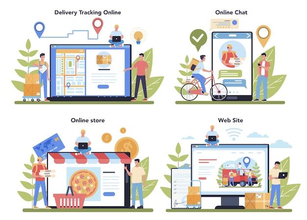 Servicio de entrega en línea, servicio o plataforma. mensajero en uniforme con caja del camión. expresar concepto logístico. seguimiento en línea, chat, sitio web, tienda. ilustración vectorial en estilo de dibujos animados