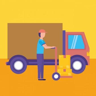 Servicio de entrega logística con ilustración de camión y mensajería