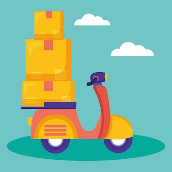 Servicio de entrega logística con ilustración de motocicleta