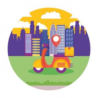 Servicio de entrega logística con ilustración de paisaje urbano y motocicleta
