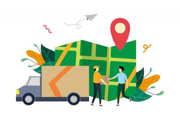 Servicio de entrega logística en línea, ilustración plana de seguimiento de pedidos con personas pequeñas