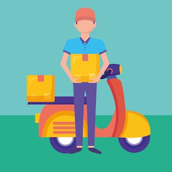 Servicio de entrega logística con servicio de mensajería y motocicleta
