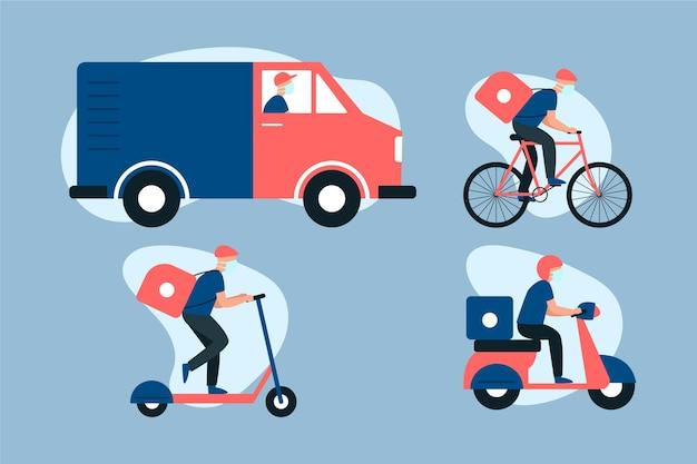 Servicio de entrega con máscara ilustrada
