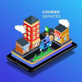 Servicio de entrega de mensajería en la ilustración de la ciudad