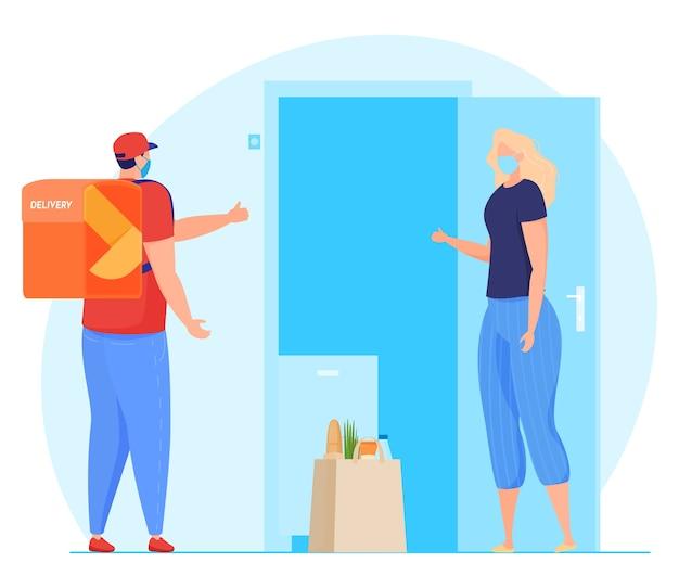 Servicio de entrega. el mensajero con máscara deja el paquete en la puerta, transferencia de paquetes sin contacto, cuarentena.