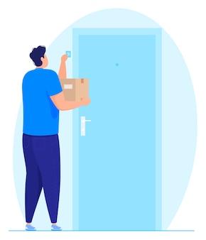 Servicio de entrega. un mensajero con un paquete en la mano toca el timbre.