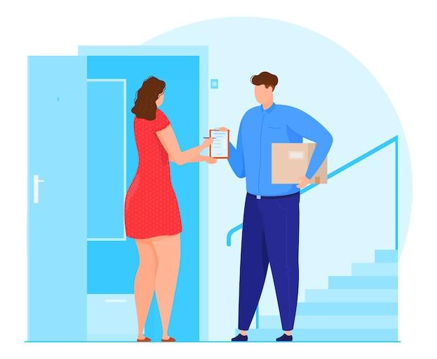Servicio de entrega. el mensajero le pide a la mujer que firme el paquete.