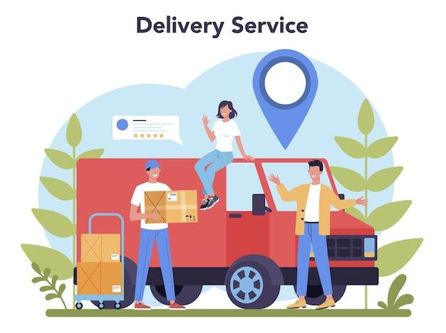 Servicio de entrega. mensajero en uniforme con caja del camión. entrega de comida online. pedido de mercancías en internet. expresar concepto logístico.
