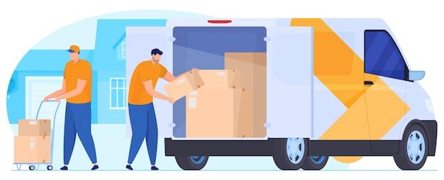 Servicio de entrega. los mensajeros descargan los paquetes del coche.