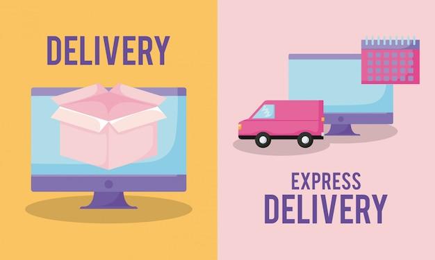 Servicio de entrega con monitor de ordenador.