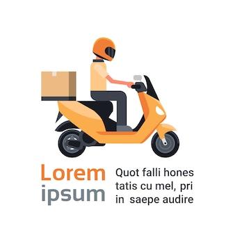 Servicio de entrega de motocicletas, hombre mensajero que monta la vespa con la caja paquete sobre plantilla