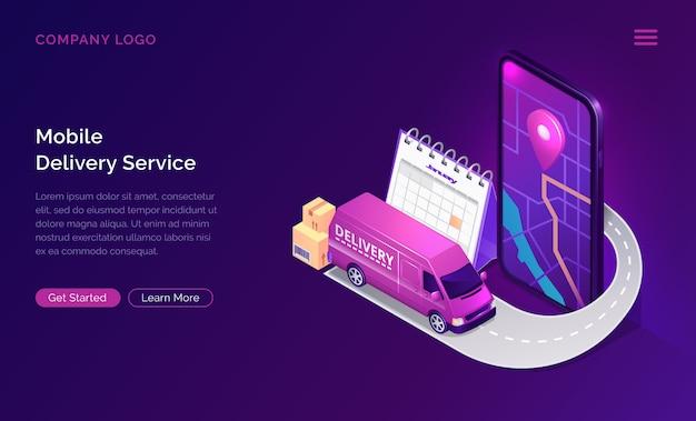Servicio de entrega móvil en línea aplicación isométrica
