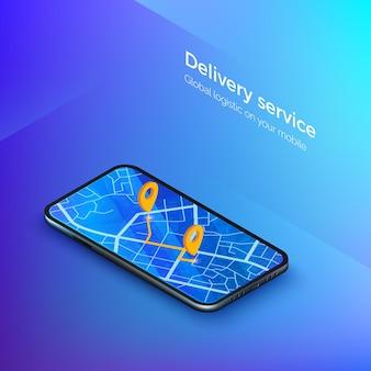 Servicio de entrega o taxi isométrico. navegación o gps en el móvil. cabina de aplicación móvil o envío. mapa de la ciudad en la pantalla del teléfono inteligente con ruta. ilustración