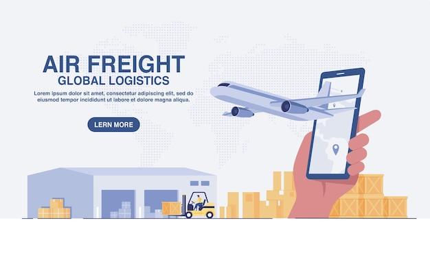 Servicio de entrega online en móvil, logística global, transporte, logística de flete aéreo, almacén y caja de paquetería. concepto de sitio web. ilustración vectorial ... ilustración vectorial.