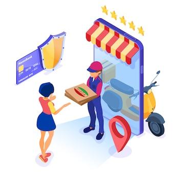 Servicio de entrega de paquetes de pedidos de alimentos en línea