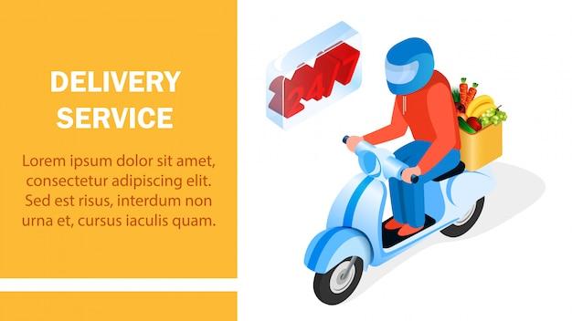 Servicio de entrega de pedidos diseño de banner isométrico