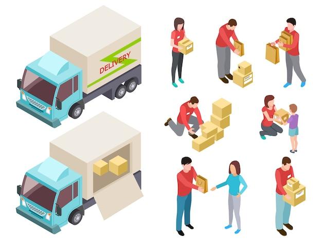 Servicio de entrega con personas y conjunto de camiones