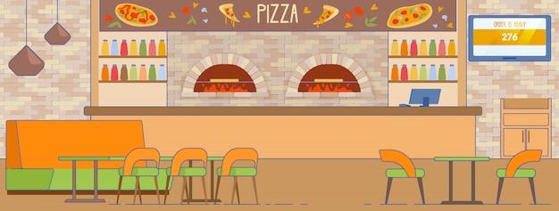Servicio de entrega de pizza interior pizzería vacía