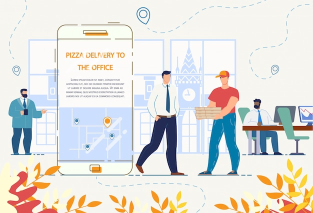 Servicio de entrega de pizza a la oficina a través de la aplicación móvil