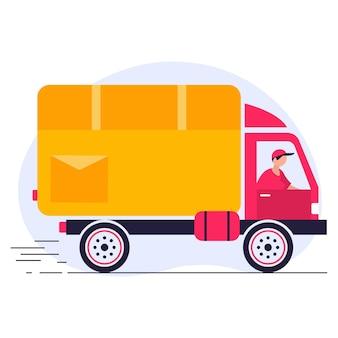 Servicio de entrega rápida por camión amarillo, furgoneta. el mensajero entrega el pedido de comida por auto.