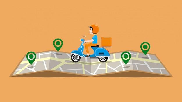 Servicio de entrega rápida por ilustración de scooter