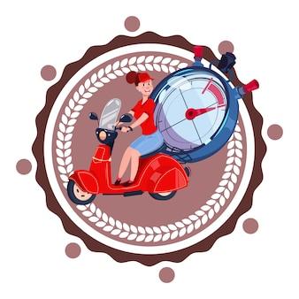 Servicio de entrega rápida logo mujer mensajero montar retro scooter icono aislado