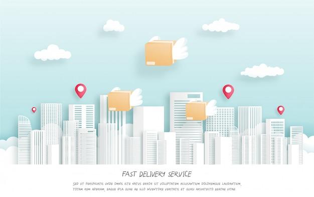 Servicio de entrega rápida con paquete volador con alas. estilo de corte de papel. ilustración.