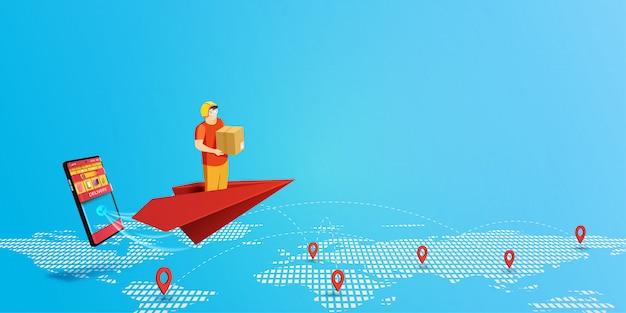 Servicio de entrega con repartidor en avión de papel rojo y fondo de aplicación móvil de compras.