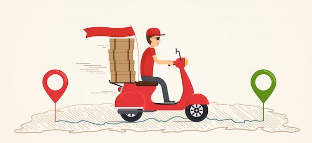 Servicio de entrega en scooter. chico entrega comida rápida y gratis en un scooter.