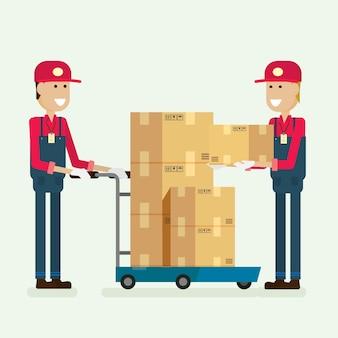 Servicio de entrega trabajador de la caja de carga en almacén.