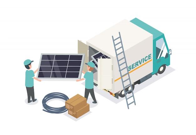 Servicio de equipo de células solares trabajando isométrico de cerca