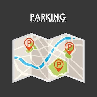 Servicio de estacionamiento, mapa en papel