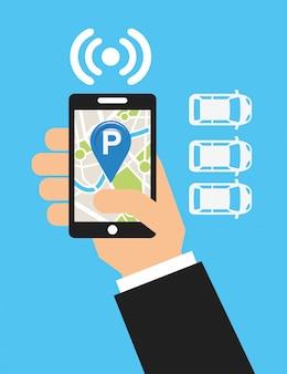Servicio de estacionamiento, mapa táctil