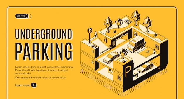 Servicio de estacionamiento subterráneo banner web isométrica.