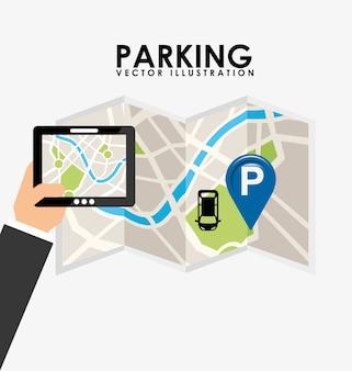 Servicio de estacionamiento, tableta y mapa en papel