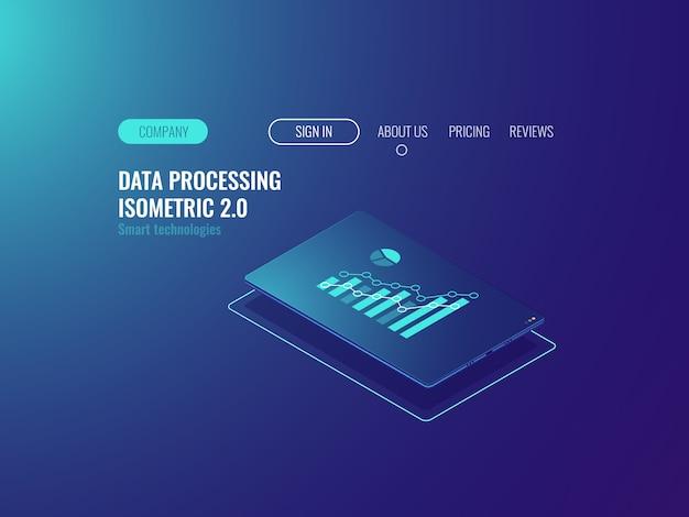 Servicio de estadística en línea y análisis de datos, tableta con canto en pantalla