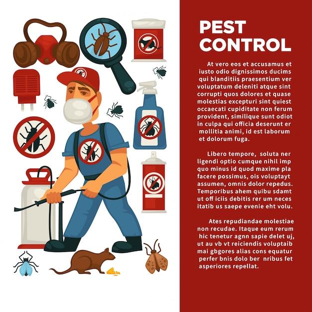 Servicio de exterminio o control de plagas y desinfección doméstica sanitaria plantilla de póster de diseño plano