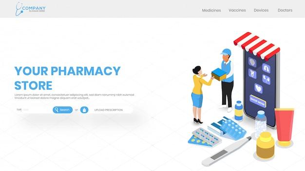 Servicio de farmacia online con vista isométrica de tienda médica.
