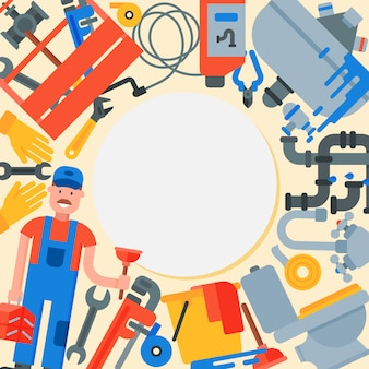 Servicio de fontanería hombre con círculo de herramientas. la ilustración de plomero, herramientas y accesorios de plomería está alrededor de un círculo blanco con lugar para el texto.